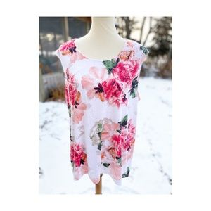 Soft Floral Semi Sheer Tank Top Blouse Shirt